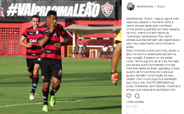 Cruzeiro deposita pagamento, e Vitória oficializa venda de David