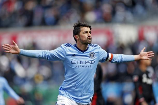 David Villa celebrates his exceptional long-range goal earlier in the season. (Source: Adam Hunger/USA Today Sports