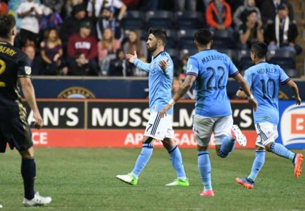 David Villa stole the show with his his goal from 50 yards out | Source: James Lang-USA TODAY Sports
