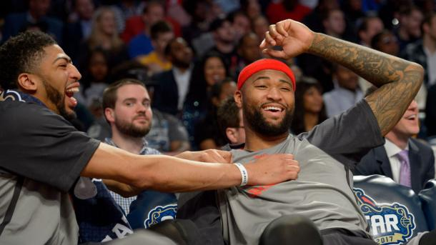 Anthony Davis and DeMarcus sitting together during the All-Star Game. Photo: Matthew Hinton/The New Orleans Aadvocate