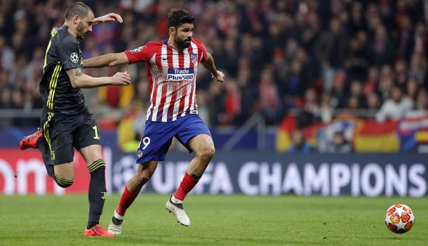 Diego Costa tuvo una ocasión clarísima pero la echó fuera. Foto: Web oficial Club Atlético de Madrid.