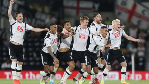 Derby celebrate their penalty shoot-out victory over Carlisle on Tuesday. (Picture: Sky Sports)