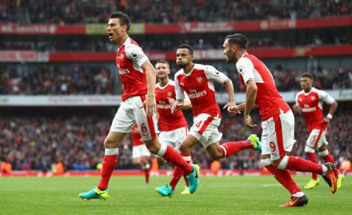 Laurent Koscielny equalised for Arsenal in spectacular fashion. Photo: BBC sport.