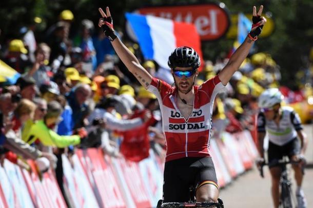 De Gendt celebrates his victory / The Guardian