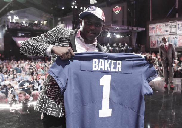 Deandre Baker, esquinero seleccionado por los Giants en su tercer pick (foto NFL.com)