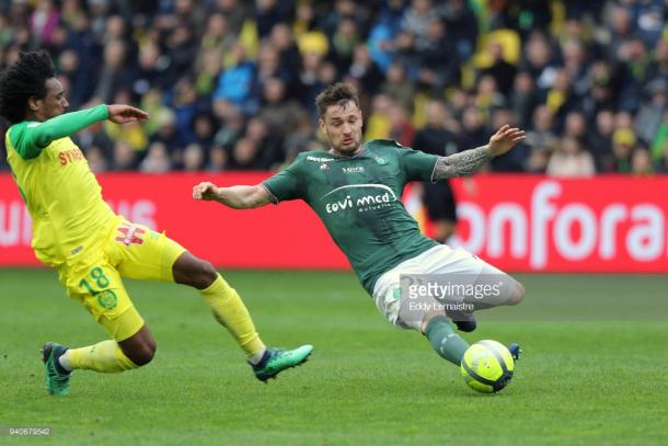 Debuchy making a challenge away at Nantes in April. Souce | Getty Images.