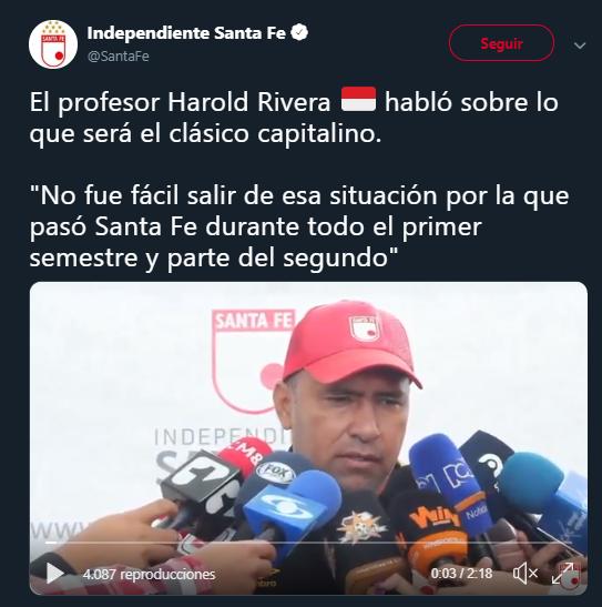Harold Rivera en declaraciones antes del clásico. Imagen: captura de pantalla @SantaFe