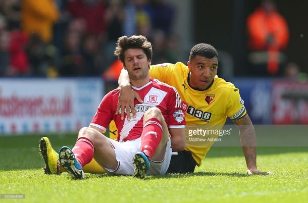 Deeney's tally of six goals - Boro is only matched by his total of six - Leeds | Photo: Getty