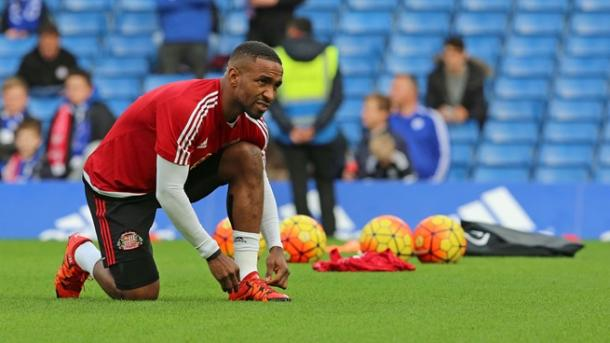 Defoe warming up for the Black Cats. (Photo: Sunderland AFC)