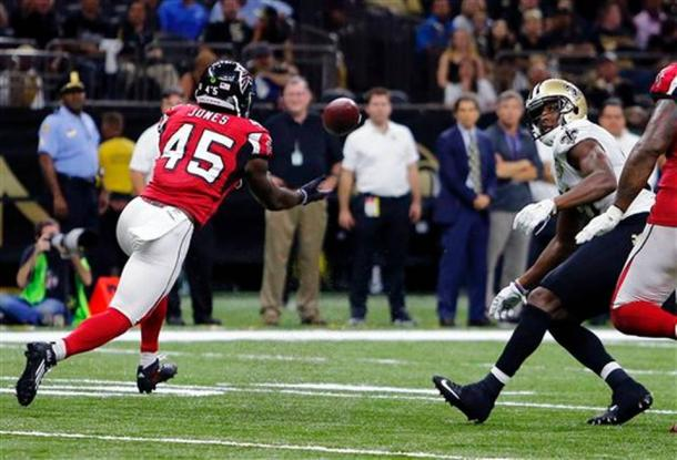 Deion Jones returned an interception 90 yards for a touchdown in Week 3 as the Falcons moved to 2-1 on the season. (Source: Butch Dill/AP Photo)