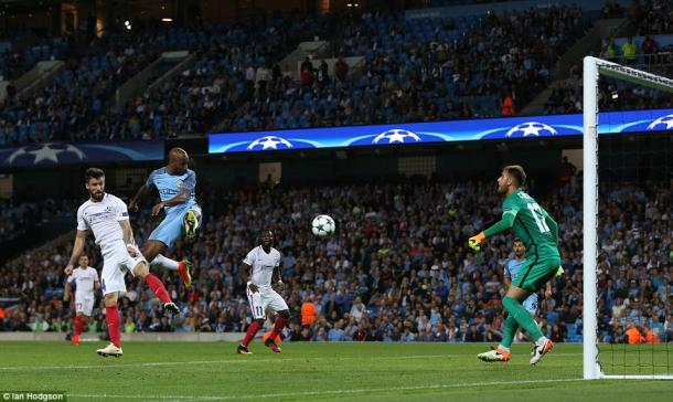 Delph heads in the only goal (photo: Ian Hodgson)
