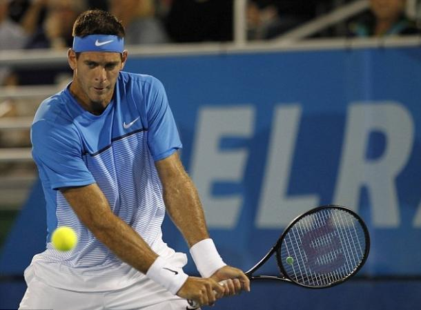 Del Potro hits a backhand during his match on Tuesday (Photo: Reuters)