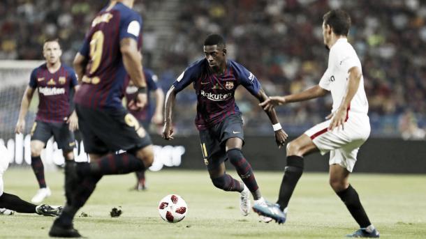 Dembélé, en la Supercopa de España frente al Sevilla / Fuente: FC Barcelona