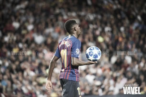 Imagen de archivo. Dembélé volvía a marcar ante el Espanyol | Foto: Noelia Déniz - VAVEL