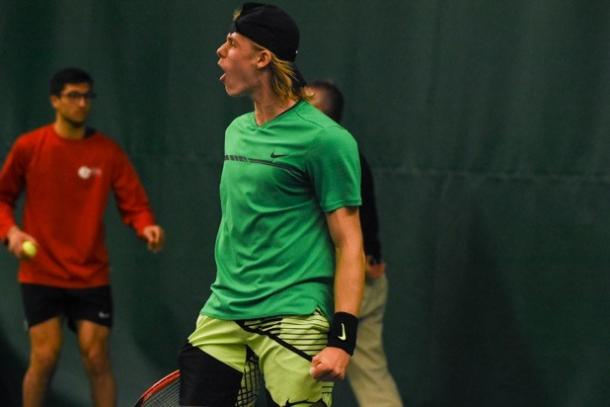 Denis Shapovalov celebrates after winning a point during his straight-sets victory over Ruben Bemelmans in the final of the 2017 Drummondville National Bank Challenger. | Photo: Jean-Samuel Gauthier