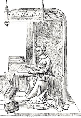 Grabado de la época de Cristina de Pizán / Fuente: wikicommons