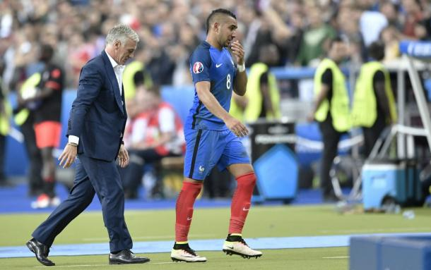 Deschamps and Payet pictured just after the winner (photo: UEFA)