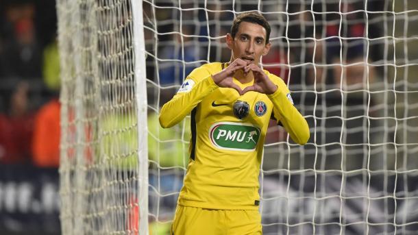 Di Maria celebra un gol con su peculiar celebración / Foto: PSG