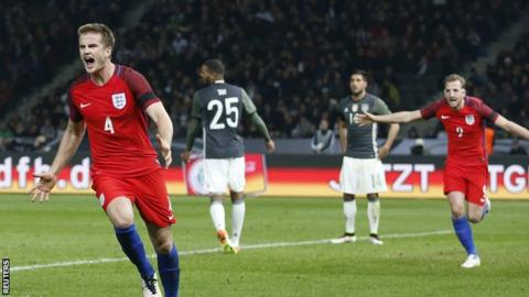 Eric Dier celebrates his stoppage-time winer against Germany | Photo: Reuters