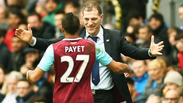 Above: West Ham United's Slaven Bilic and Dimitri Payet in a warm embrace | Photo: Sky Sports