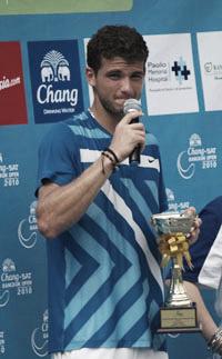 Dimitrov, tras ganar el Challenger de Bangkok. Foto: Zimbio