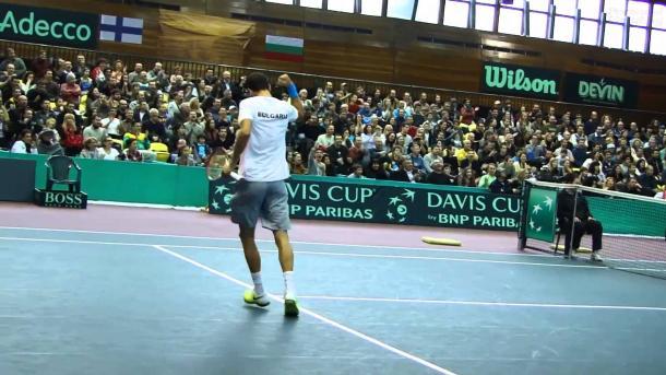 Dimitrov, durante un partido de Copa Davis. Foto: Getty Images