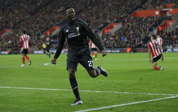 Origi celebrates one of his three goals against Southamptone earlier this season (photo: getty)