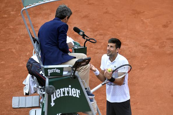Djokovic and the umpire had a few disagreements (Photo by Aurelien Meunier / Getty)
