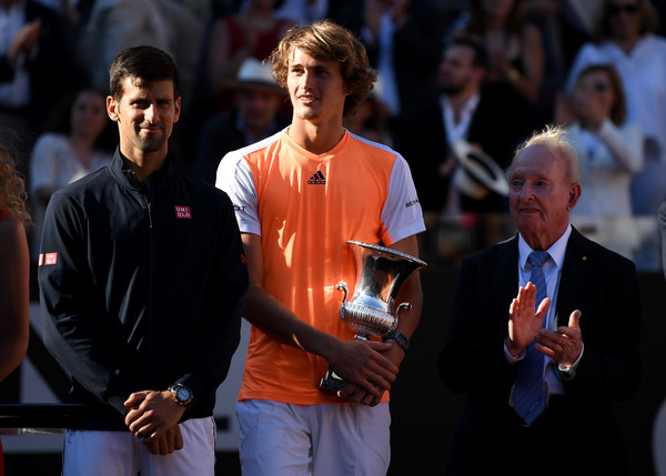 Djokovic (left) was unable to win a fifth title at the Foro Italico after losing to Alexander Zverev (Photo by Gareth Copley / Getty)