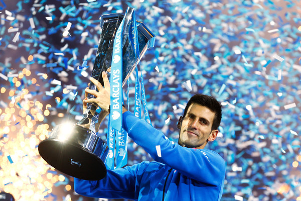 Djokovic lifting his fifth ATP World Tour Finals trophy last year (Photo by Julian Finney / Getty Images)