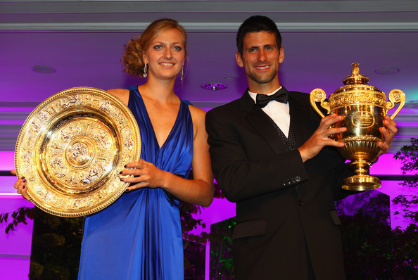 Djokovic (right) and Kvitova (left) both won their first Wimbledon titles in 2011 (Photo by Clive Brunskill / Getty)