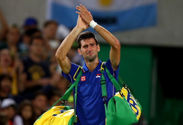 An emotional Djokovic acknowledges the crowd following his straight sets defeat to Juan Martin del Potro at the Rio Olympics (Photo by Clive Brunskill / Getty Images)