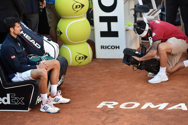 Djokovic lost his second final of the year in Rome, he looked dejected just before the trophy presentation (Photo by Giuseppe Bellini / Getty)