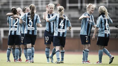 Djurgårdens celebrating scoring in their win against VIttsjö Photo: svenskfotboll.se/damallsvenskan