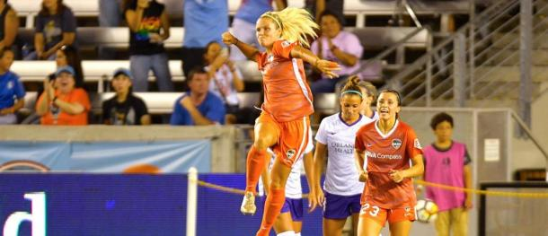 Rachel Daly scored her fifth and sixth goals in the match on Wednesday. | Photo: isiphotos.com via houstondynamo.com