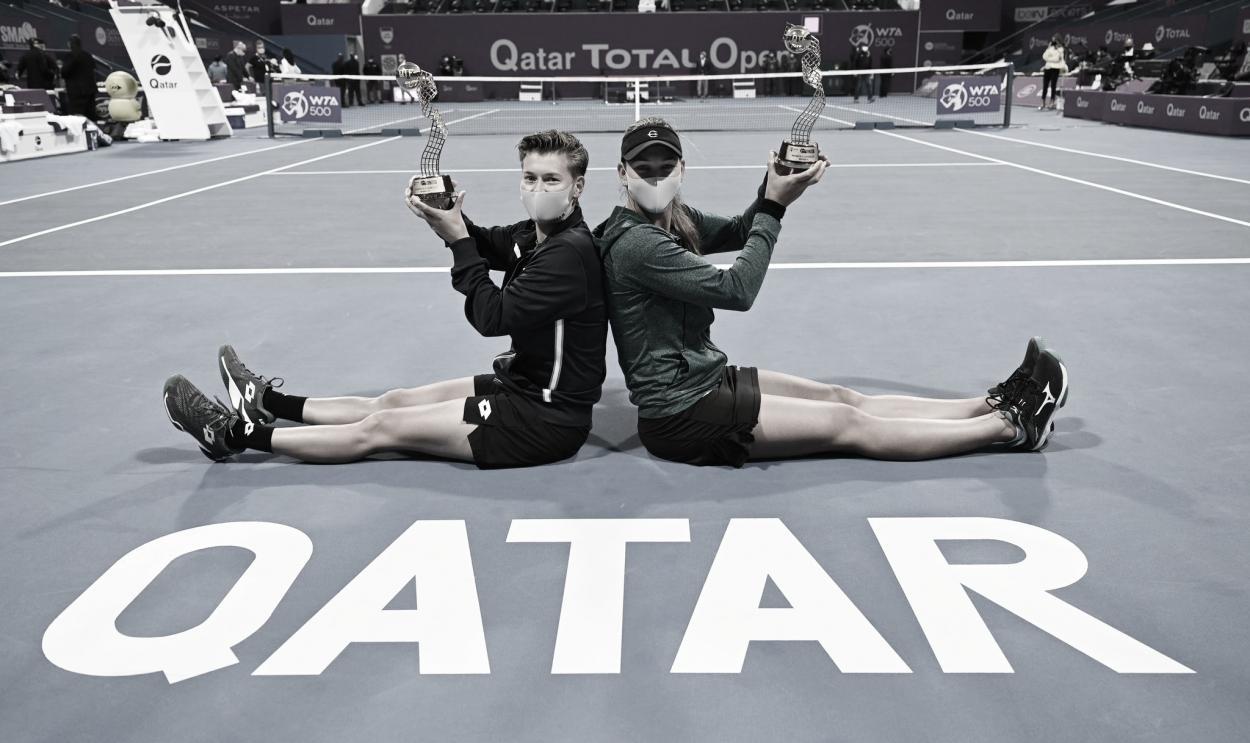  Nicole Melichar y Demi Schuurs, ganadoras del torneo de dobles. Foto @QatarTennis  