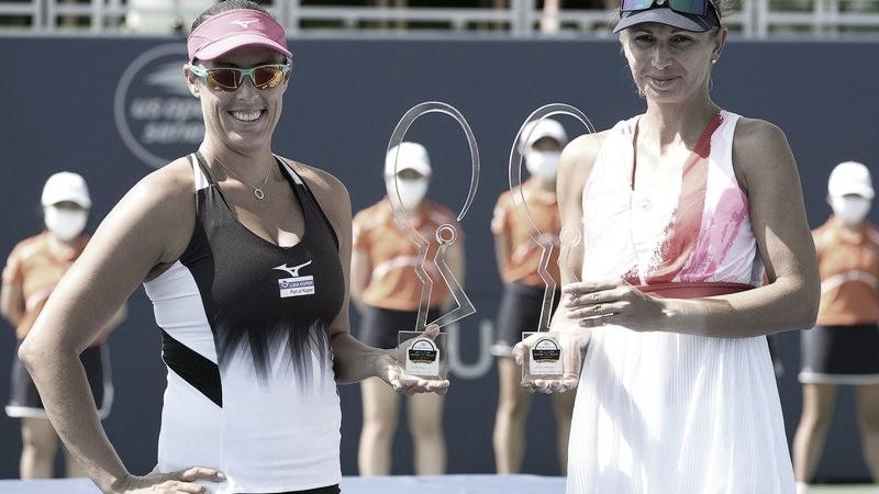 Andreja Klepac (izquierda) ganó el torneo en San José con Darija Jurak. FOTO: Thearon W. Henderson /AFP