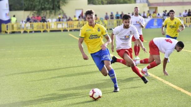 Diego Parras en un partido con el filial canario | Foto: Canarias7