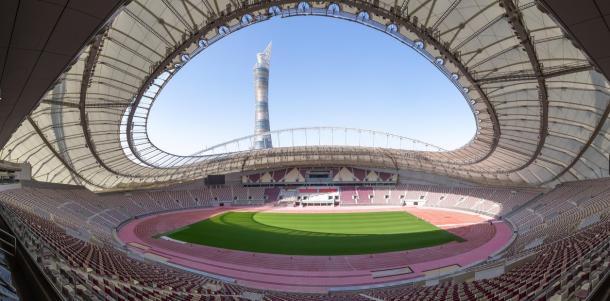 El impresionante estadio de Doha, sede del Mundial próximo.