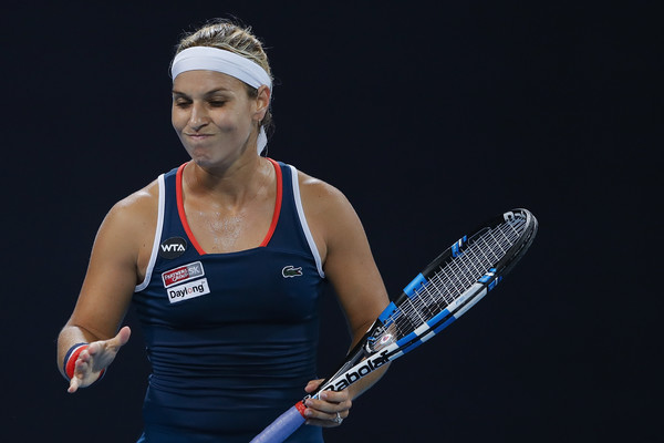 Cibulkova irritated with herself during her opening round loss to Alize Cornet in Beijing (Photo by Lintao Zhang / Getty Images)