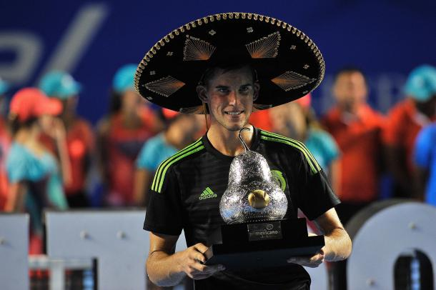 Dominic Thiem posing with the trophy after winning his second tournament of the year in Acapulco. Photo: Getty Images
