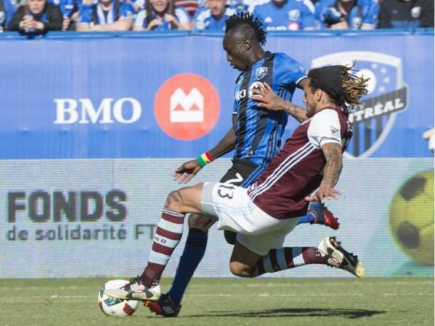 Colorado's Jermaine Jones (Front) stealing the ball away from Montreal's Dominic Oduro (Back) on Saturday at Stade Saputo. Photo provided by Canadian Press.