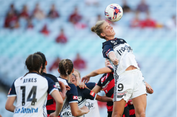 Natasha Dowie (9) wins a header against the Western Sydney Wanderers, Dowie scored the game-tying goal for Melbourne Victory. | Photo: Matt King - Getty Images