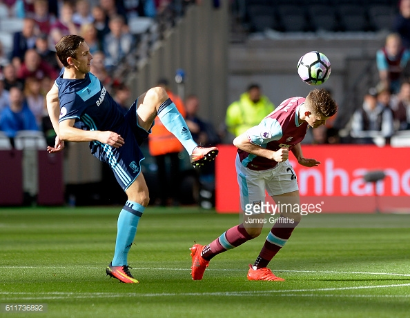 Downing challanges with Sam Byram during Boro's latest away day against West Ham | Photo: Getty