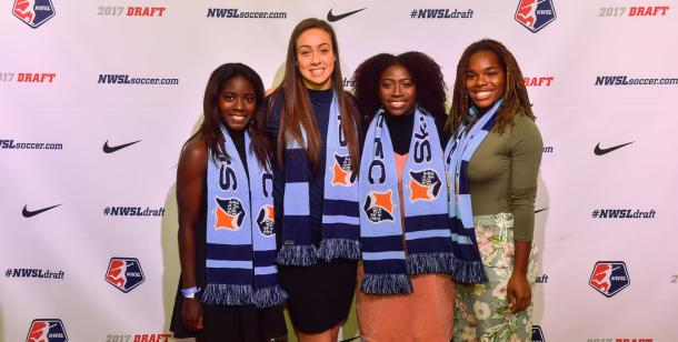 Four Sky Blue FC draftees at the 2017 NWSL College Draft (Photo: Sky Blue FC)