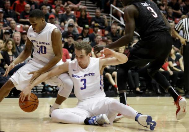 Via the Fairfield Citizen. Star Anthony Drmic fights for the ball in a 66-63 upset over San Diego State.