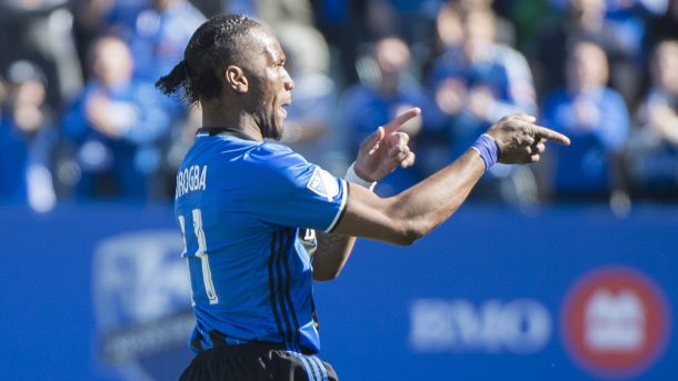 Didier Drogba celebrating his goal on Saturday against the Colorado Rapids at Stade Saputo. Photo provided by the Canadian Press.