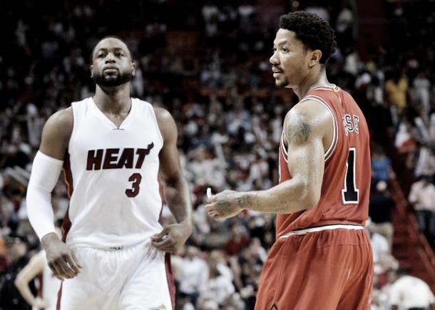 Dwyane Wade and Derrick Rose, two of the East's biggest stars to change teams this off-season. (Steve Mitchell-USA TODAY Sports)