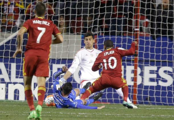 Joao Plata (#10) scoring RSL's goal on Wednesday night against Tigres in the second leg of the CCL quarterfinal match. Photo provided by  Rick Bowmer-Associated Press.