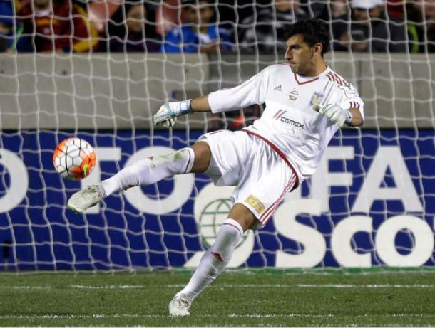 Tigres goalkeeper Nahuel Guzmán denied Javier Morales penalty in the 74th minute on to keep RSL stuck at 1-0 on Wednesday at Rio Tinto Stadium. Photo provided by Rick Bowmer-Associated Press.